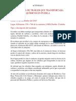 VOLCADURA DE TRÁILER QUE TRANSPORTABA QUÍMICOS EN PUEBLA