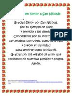 Oración en honor a San Nicolás