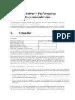 SQL Server – Performance Recommendations(1)