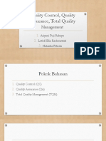 MMPM quality control, QA, TQM