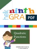 Grade 9 - Quadratic functions
