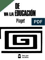 A Donde Va La Educacion Piaget