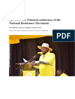 President MUSEVENI Speech at the National Conference of the National Resistance Movement