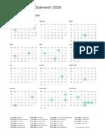 Calendar 2020 Austria