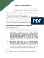 TRATAMIENTO DE DATOS DE CANDIDATOS