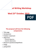 Proposal Writing Workshop, October, 2019