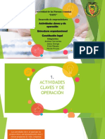 Actividades claves y de operación Estructura organizacional Constitución legal