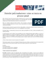 Derecho para traductores COMO SE INICIA UN PROCESO PENAL