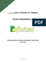 REGLAMENTO INTERNO DEL TRABAJO - FRUTOSA