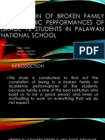 Correlation of broken family in academic performances of
