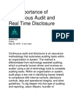 The Importance of Continuous Audit and Real Time Disclosure