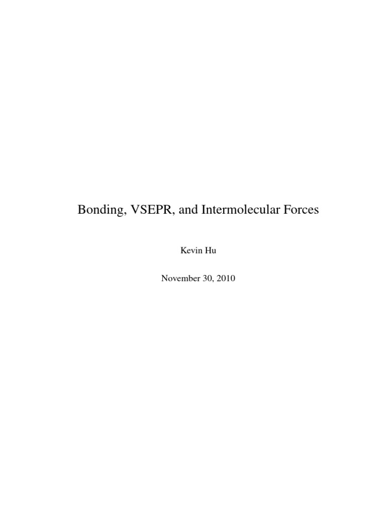 Bonding VSEPR and Intermolecular Forces – Vsepr Worksheet