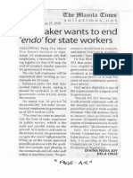 Manila Times, Jan. 27, 2020, Lawmaker wants to end endo for state workers.pdf