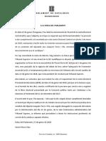 Carta de la Secretaria del Parlament a la Mesa en relación a la situación de Quim Torra