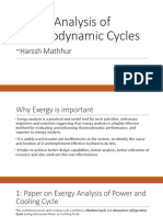Exergy Analysis of Thermodynamic Cycles