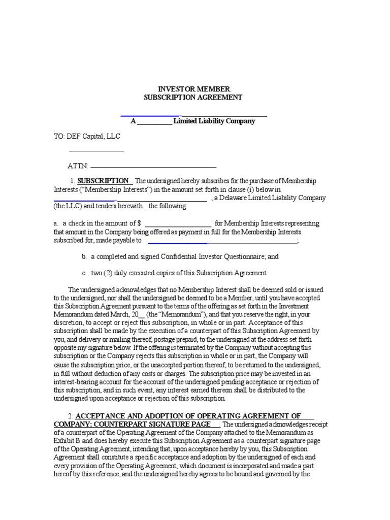 Llc Subscription Agreement Us Securities And Exchange Commission