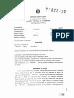 Corte di Cassazione, VI sez. penale, sent. 1822/2020