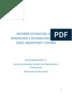 INFORME ESTADO DEL ARTE MIGRACIÓN Y SISTEMA ESCOLAR EN CHILE, ARGENTINA Y ESPAÑA