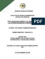 SOCIOLOGÍA JURÍDICA Y FORMACIÓN DE LOS ESTADOS LATINOAMERICANOS