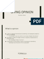 Giving opinion