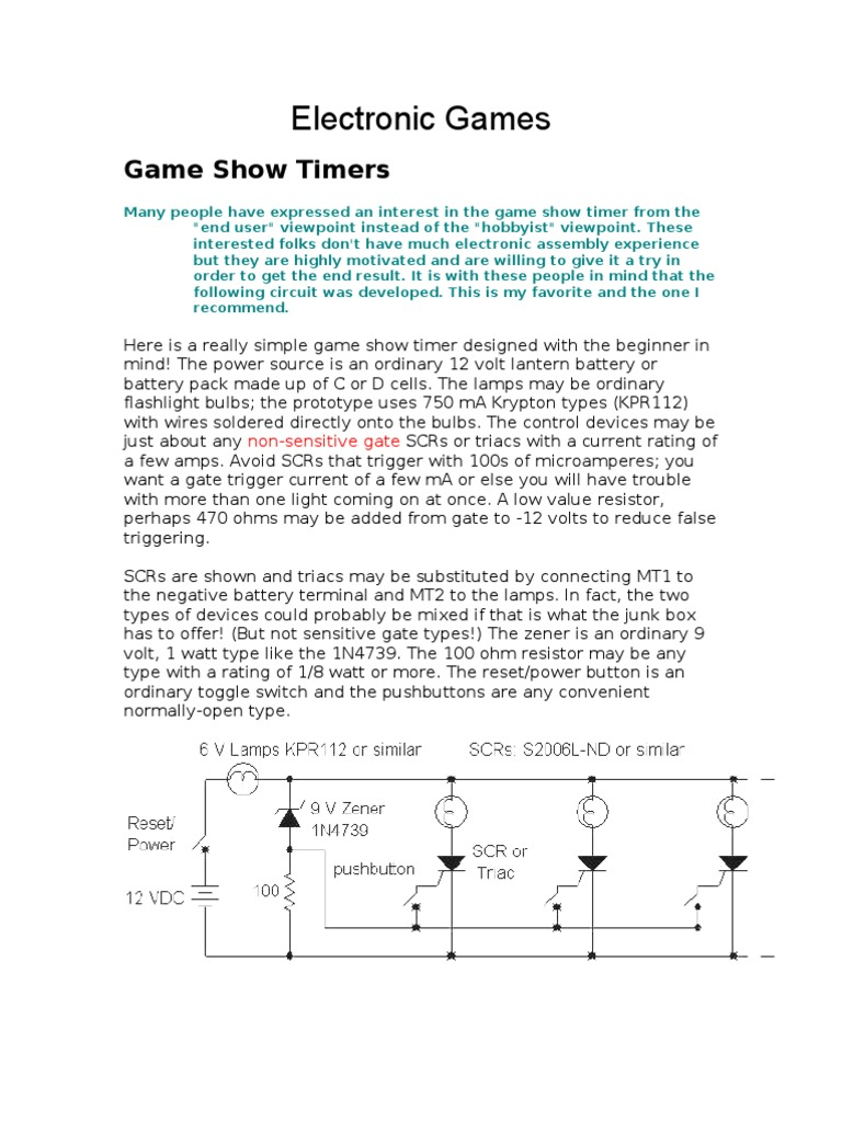 Game Show Timer Electronic Circuits Series And Parallel Bell Circuit Diagram Doorbell Using 555 Ic More