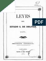 Leyes del Estado Soberano de Bolívar 1871