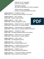 Summer Project List 2009