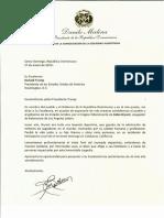 Carta de condolencias del presidente Danilo Medina a Donald Trump, presidente de los Estados Unidos de América, por fallecimiento de Kobe Bryant