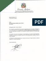 Carta de felicitación del presidente Danilo Medina a Juan José Jiménez Sabater (León David) por recibir el Premio Nacional de Literatura 2020