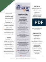 Salt Restaurant & Bar Dinner Menu