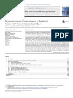 Factors determinant of biogas adoption in Bangladesh