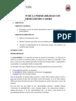 Medición de La Permeabilidad Con Permeámetro Casero