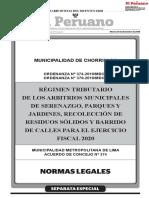 Regimen Tributario de Los Arbitrios Municipales de Serenazgo Separata Especial Acuerdo No 374 y Ordenanza n 374 y 379 2019mdch 1841586 1