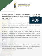 Comunicado Del Gobierno Legítimo Ante La Detención en Suelo Venezolano de La Ex Congresista Colombiana Aida Merlano