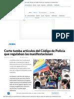 Corte tumba artículos del Código de Policía que regulaban las manifestaciones