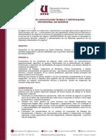 PROGRAMA DE CAPACITACIÓN TÉCNICA Y CERTIFICACIÓN PROFESIONAL EN SEGUROS