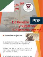DERECHO OBJETIVO, SUBJETIVO Y VIGENTE