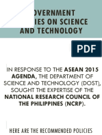 2.1 GOVERNMENT POLICIES ON SCIENCE AND TECHNOLOGY