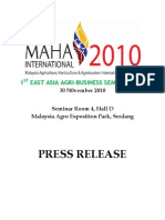Press Release - 1st East Asia Agri Business 2010