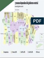 Los municipios que más o menos dependen del gobierno central