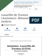 (2) (PDF) Lazarillo de Tormes (Anónimo)- Résumé et analyse  Rodolphe Maeusli - Academia.edu
