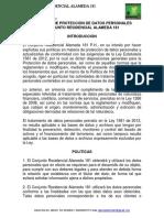 Politica De Manejo De Datos Personales Alameda 181