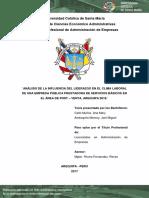 Influencia Del Liderazgo en El Clima Organizacional-Arequipa 2018