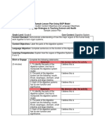 Sample Lesson Plan Using SIOP Model