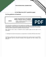 Pakistan Studies (2059/1) Paper 1 Marking Scheme; May/June 2011