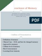 Neuroscience of Memory Part 1 DiGiovine Feb 20, 2013