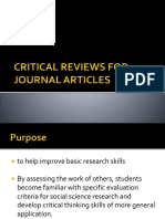 CRITICAL REVIEWS FOR JOURNAL ARTICLES