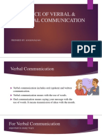 IMPORTANCE OF VERBAL & NONVERBAL COMMUNICATION