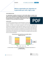 Informe exportaciones Bolsa de Cereales de Córdoba