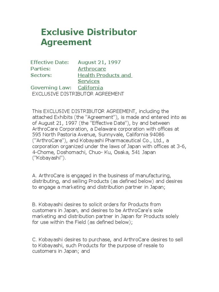 Exclusive Distributor Agreement